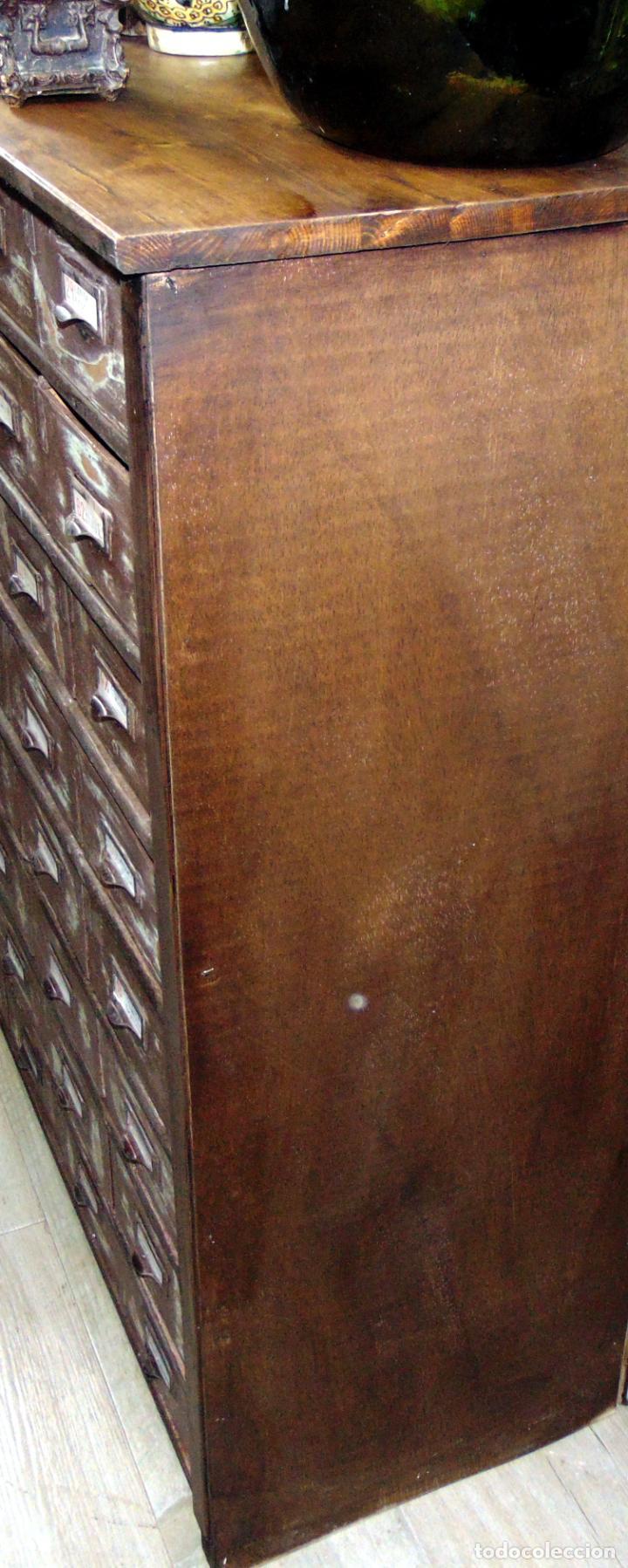 Antigüedades: antiguo mueble de merceria, restaurado, ideal consola,32 cajones decorativo y funcional - Foto 5 - 191819333