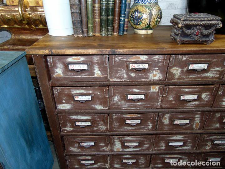 Antigüedades: antiguo mueble de merceria, restaurado, ideal consola,32 cajones decorativo y funcional - Foto 8 - 191819333