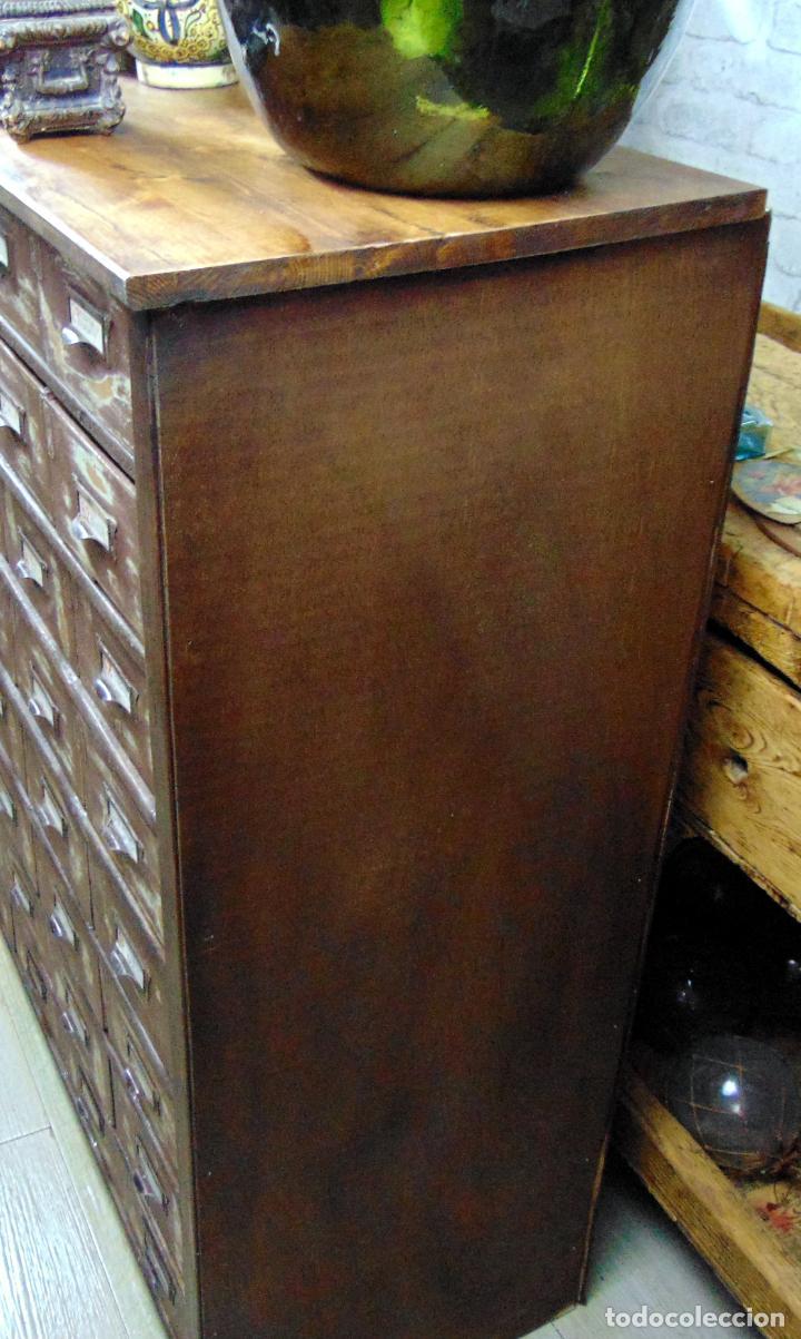 Antigüedades: antiguo mueble de merceria, restaurado, ideal consola,32 cajones decorativo y funcional - Foto 11 - 191819333