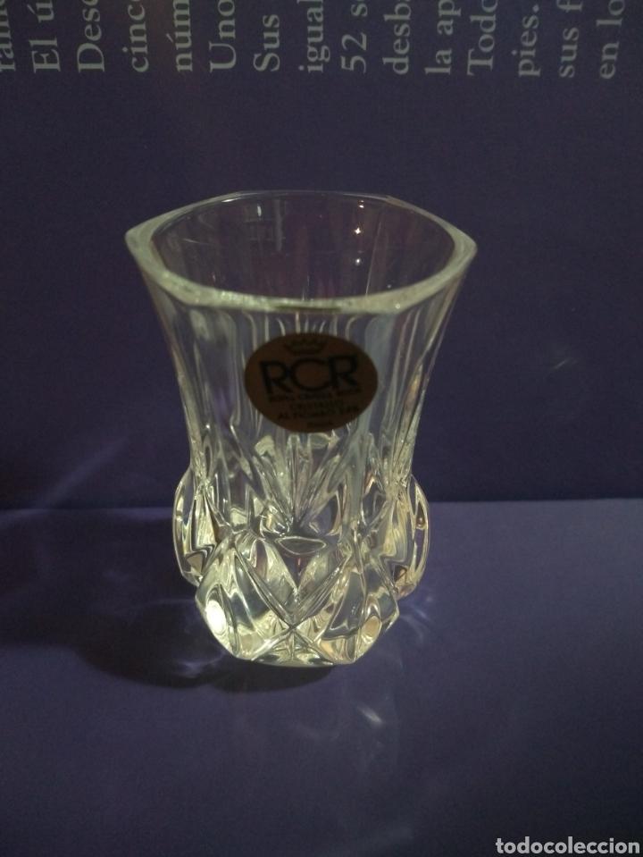 Antigüedades: Violetero Cristal al Plomo Tallado RCR Royal Crytal Rock 24% Italia - Foto 4 - 191823142