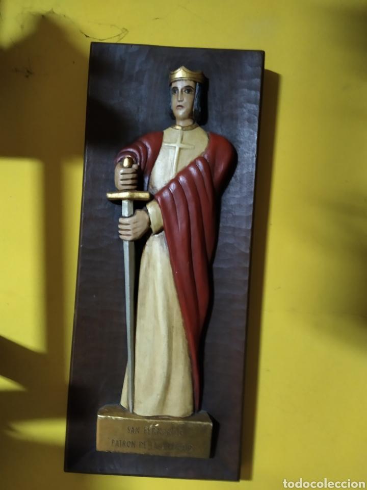 TABLA TALLADA SAN FERNANDO (Antigüedades - Religiosas - Varios)