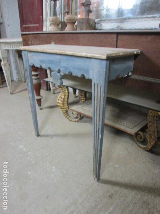 Antigüedades: Consola, Mesa - Madera Maciza Decapé - Ancho - 86 cm, Fondo - 28,5 cm - Foto 3 - 191858471