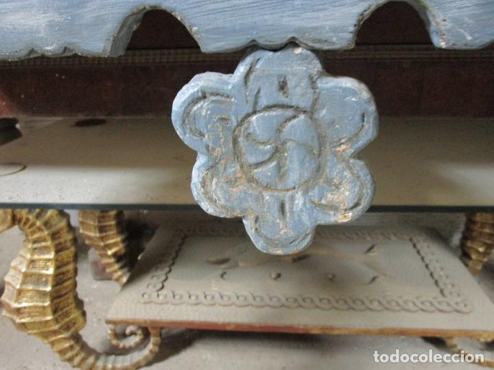 Antigüedades: Consola, Mesa - Madera Maciza Decapé - Ancho - 86 cm, Fondo - 28,5 cm - Foto 6 - 191858471