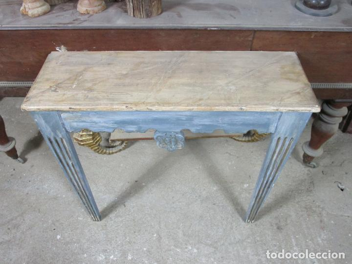 Antigüedades: Consola, Mesa - Madera Maciza Decapé - Ancho - 86 cm, Fondo - 28,5 cm - Foto 7 - 191858471