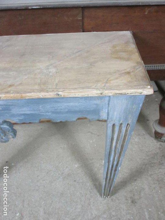 Antigüedades: Consola, Mesa - Madera Maciza Decapé - Ancho - 86 cm, Fondo - 28,5 cm - Foto 8 - 191858471