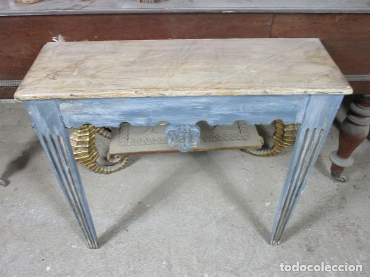 Antigüedades: Consola, Mesa - Madera Maciza Decapé - Ancho - 86 cm, Fondo - 28,5 cm - Foto 10 - 191858471