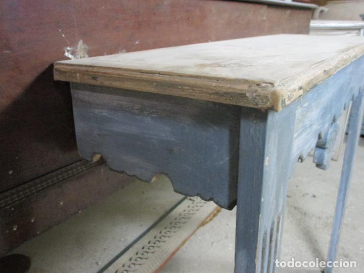Antigüedades: Consola, Mesa - Madera Maciza Decapé - Ancho - 86 cm, Fondo - 28,5 cm - Foto 11 - 191858471