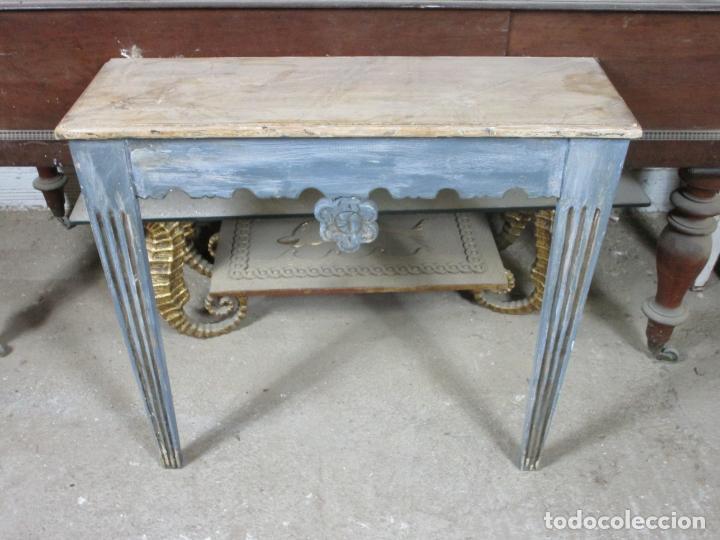 CONSOLA, MESA - MADERA MACIZA DECAPÉ - ANCHO - 86 CM, FONDO - 28,5 CM (Antigüedades - Muebles Antiguos - Consolas Antiguas)