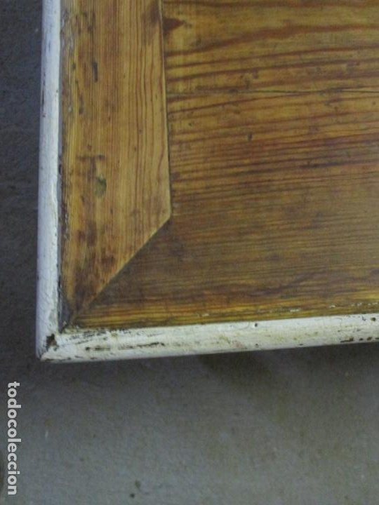 Antigüedades: Decorativa Mesa, con Pata de Lira - Madera Maciza Decapé - Sobre de Pino -Largo 156 cm, Ancho 100 cm - Foto 6 - 191861943