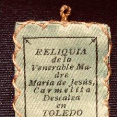 Antigüedades: ANTIGUA RELIQUIA DE LA VENERABLE MADRE MARÍA JESÚS CARMELITA DESCALZA TOLEDO 3,5 X 2,5 CM. Lote 191876770