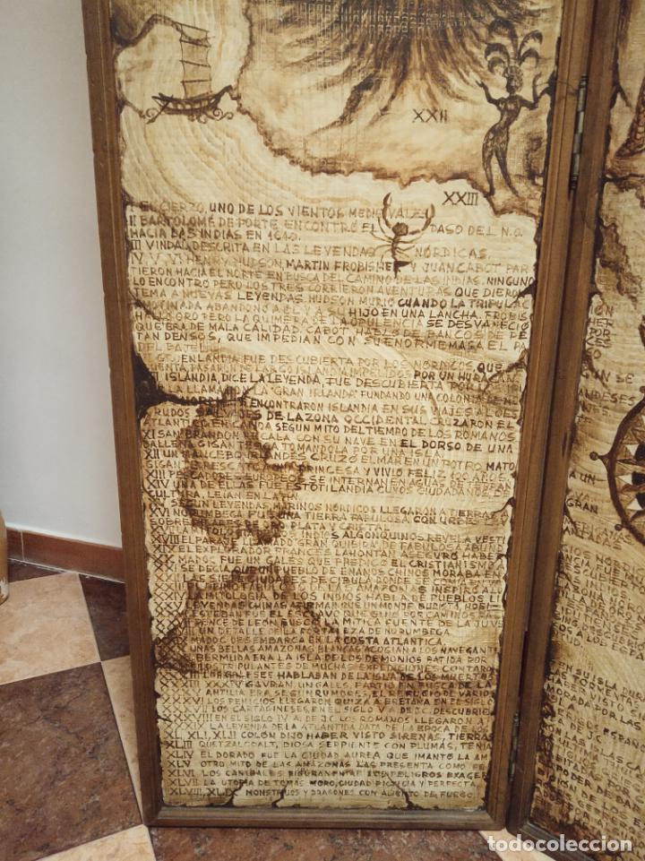 Antigüedades: Excepcional y único biombo pintado a mano. Cuadro por ambas caras. Pasajes históricos. Firmado. - Foto 6 - 191894133