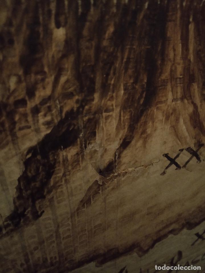 Antigüedades: Excepcional y único biombo pintado a mano. Cuadro por ambas caras. Pasajes históricos. Firmado. - Foto 21 - 191894133