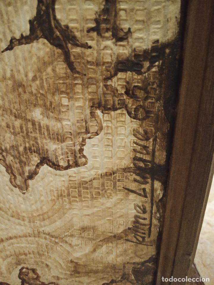 Antigüedades: Excepcional y único biombo pintado a mano. Cuadro por ambas caras. Pasajes históricos. Firmado. - Foto 22 - 191894133