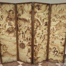 Antigüedades: EXCEPCIONAL Y ÚNICO BIOMBO PINTADO A MANO. CUADRO POR AMBAS CARAS. PASAJES HISTÓRICOS. FIRMADO.. Lote 191894133