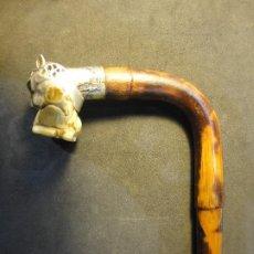 Antigüedades: BASTON CABEZA DE LEOPARDO. Lote 191904653