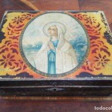Antigüedades: CAJITA COSTURA DECORACION VIRGEN. Lote 191971012