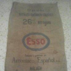 Antigüedades: SACA DE ABONO - ESSO - AMONÍACO ESPAÑOL, S. A. - MÁLAGA - NITRATO - SACO ANTIGUO DE ARPILLERA. Lote 192005182
