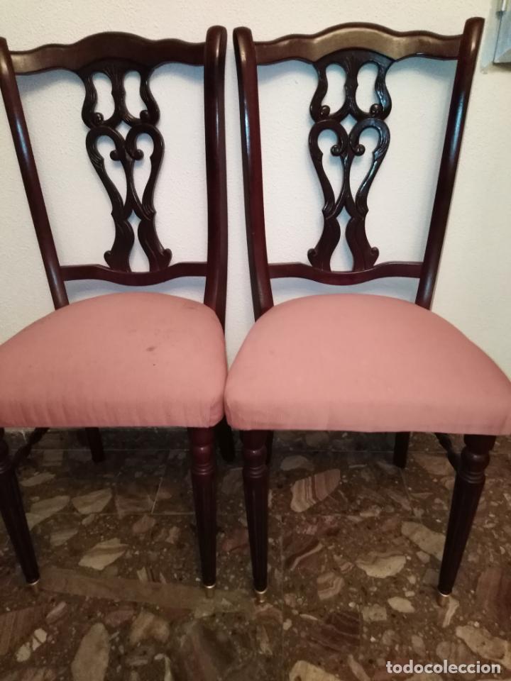 Antigüedades: Pareja sillas madera puntas patas metal 99 cm alto x 44x40 - Foto 13 - 192005202