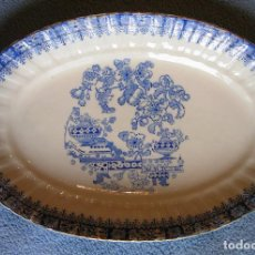 Antigüedades: FUENTE PORCELANA SANTA CLARA, CHINA BLAU. TAMAÑO GRANDE, DE 29 CMS DE LARGO.. Lote 192142997