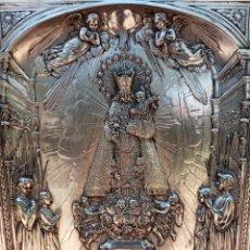 Antigüedades: IMPORTANTE VIRGEN DE LOS DESAMPARADOS - BAJO RELIEVE - PLATA ALEMANA - GRAN TAMAÑO. Lote 225548555