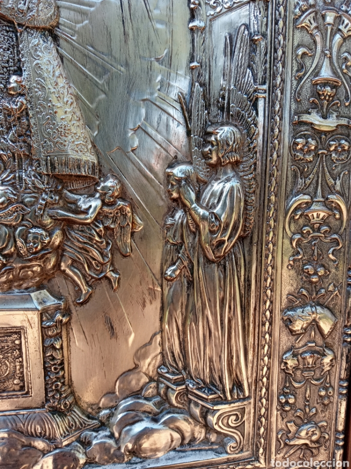Antigüedades: IMPORTANTE VIRGEN DE LOS DESAMPARADOS - BAJO RELIEVE - PLATA ALEMANA - GRAN TAMAÑO - Foto 4 - 225548555