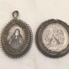 Antigüedades: RELICARIOS FILIGRANA DE PLATA CON DOS GRABADOS, VIRGEN DE MONTSERRAT, ECCE HOMO S XIX. Lote 192144905