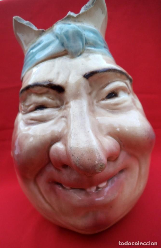 RARA JARRA DE CERÁMICA SARREGUEMINES Nº 3181, CARA GROTESCA DE LOS AÑOS 1925-30. (Antigüedades - Porcelana y Cerámica - Francesa - Limoges)