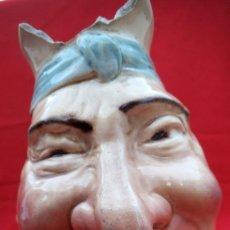 Antigüedades: RARA JARRA DE CERÁMICA SARREGUEMINES Nº 3181, CARA GROTESCA DE LOS AÑOS 1925-30.. Lote 192165285