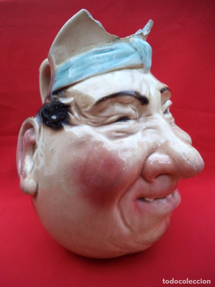Antigüedades: Rara jarra de cerámica SARREGUEMINES nº 3181, cara grotesca de los años 1925-30. - Foto 2 - 192165285