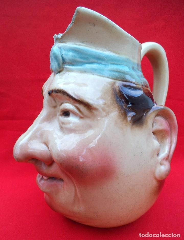 Antigüedades: Rara jarra de cerámica SARREGUEMINES nº 3181, cara grotesca de los años 1925-30. - Foto 3 - 192165285