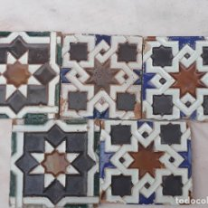 Antigüedades: LOTE DE 5 AZULEJOS ANTIGUOS - ESTILO MUDEJAR -ARISTA - REAL FABRICA DE LA MONCLOA - MADRID - 1882.. Lote 192184962