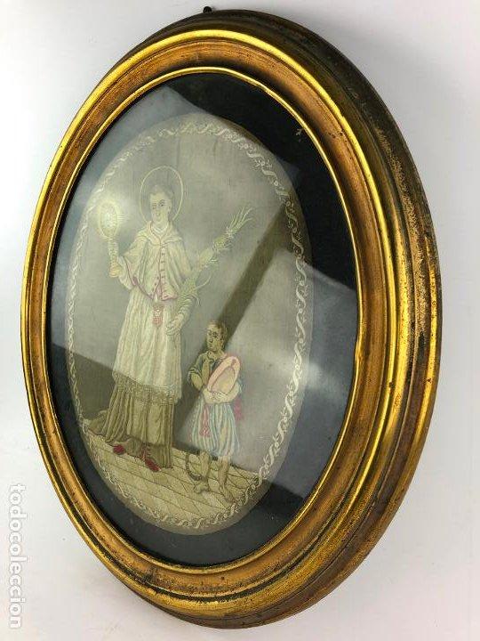 Antigüedades: Santo mercenario, plafón bordado, siglo XIX, con marco. 36x30cm - Foto 5 - 192220051
