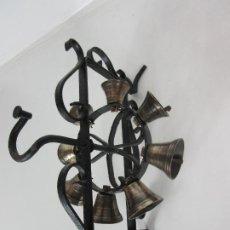 Antigüedades: BONITA RUEDA DE CAMPANAS ANTIGUA - CAMPANILLAS PARA CONVENTO - BRONCE - HIERRO FORJADO - S. XIX. Lote 192227347