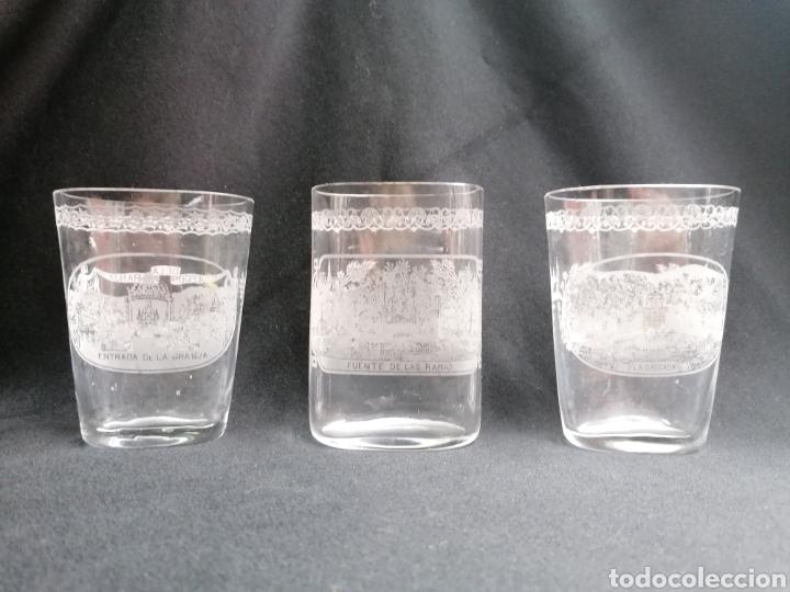 TRES VASOS DE PETACA RECUERDO DE LA GRANJA (Antigüedades - Cristal y Vidrio - La Granja)