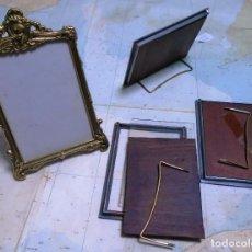 Antigüedades: PORTAFOTOS VINTAGE BRONCE Y METAL 4 UNIDADES 10 X 14 Y 9 X 13 IMPECABLES DE EPOCA. Lote 192293718