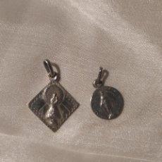Antigüedades: DOS ANTIGUAS MEDALLAS DE LA VIRGEN MARÍA Y DEL PILAR. PLATA. Lote 192295113
