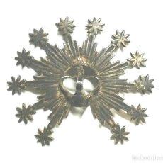 Antigüedades: CORONA RESPLANDOR PARA IMAGEN VIRGEN S XIX, BRONCE BAÑO PLATA. MED. 6,50 X 6 CM. Lote 192310000