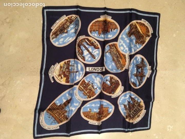 PAÑUELO ITALIANO DE ACETATO, RECUERDO DE LONDRES (Antigüedades - Moda - Pañuelos Antiguos)