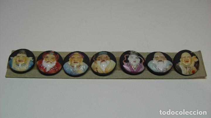 Antigüedades: TOSHIKANE. SIETE DIOSES DE LA FORTUNA. Juego completo. Siete botones de porcelana. - Foto 2 - 192380386