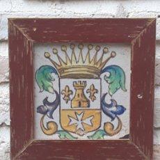 Antigüedades: AZULEJO ANTIGUO DE MANISES / VALENCIA - SIGLO XIX - XX. HERALDICA - CRUZ DE MALTA - . Lote 192380740