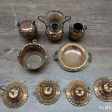 Antigüedades: LOTE DE JARRONCITOS Y OTROS ARTÍCULOS DE COBRE. Lote 192391221