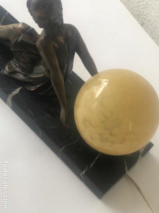 Antigüedades: LAMPARA DE SOBREMESA ART DECO ART NOUVEAU FIRMADA L.BRUNS 1930'S. - Foto 6 - 192416603
