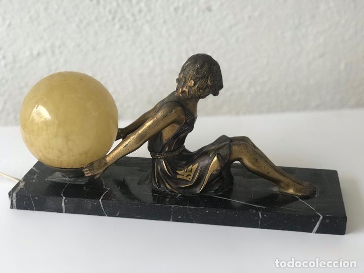 Antigüedades: LAMPARA DE SOBREMESA ART DECO ART NOUVEAU FIRMADA L.BRUNS 1930'S. - Foto 9 - 192416603