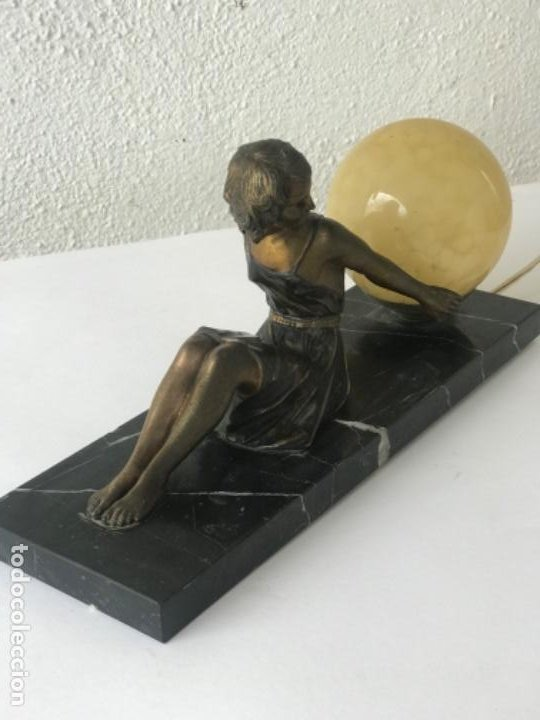 Antigüedades: LAMPARA DE SOBREMESA ART DECO ART NOUVEAU FIRMADA L.BRUNS 1930'S. - Foto 16 - 192416603