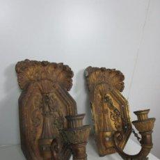 Antigüedades: IMPRESIONANTE GRAN PAREJA DE APLIQUES - APLIQUE, TORCHERO - BRONCE CINCELADO - S. XVIII-XIX. Lote 192444135