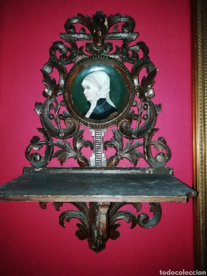 Antigüedades: Pareja de ménsulas en madera tallada y porcelana europea siglo XIX - Foto 3 - 149226820
