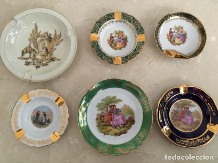 LOTE DE SEIS CENICEROS DE LIMOGES (Antigüedades - Porcelana y Cerámica - Francesa - Limoges)