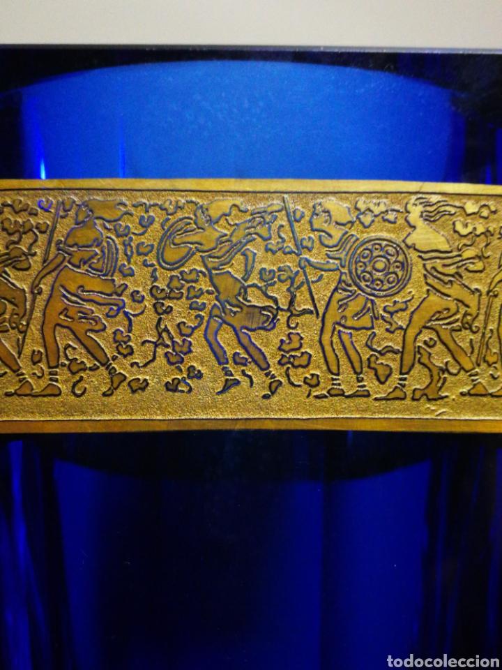 Antigüedades: INCREÍBLE JARRÓN HEXAGONAL CRISTAL AZUL-DORADO BOHEMIA MOSER, ART-DECO.CIRCA 1930. 22X14CM. FIRMADO - Foto 14 - 192545168