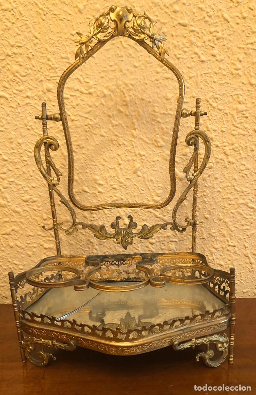 PRECIOSO JOYERO-TOCADOR DE SOBREMESA EN BRONCE DORADO AL MERCURIO. NAPOLEON III. (Antigüedades - Muebles Antiguos - Auxiliares Antiguos)