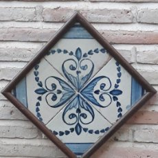 Antigüedades: CUADRO AZULEJOS ANTIGUOS DE TALAVERA / TOLEDO - SIGLO : XIX.. Lote 192564130